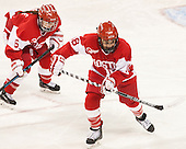 Shannon Doyle (BU - 6), Rebecca Russo (BU - 18) -  The Boston College Eagles defeated the visiting Boston University Terriers 5-0 on BC's senior night on Thursday, February 19, 2015, at Kelley Rink in Conte Forum in Chestnut Hill, Massachusetts.
