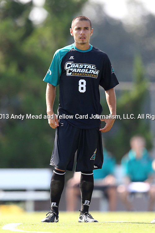 02 September 2013: Coastal Carolina's Justin Portillo. The University of North Carolina Tar Heels hosted the Coastal Carolina University Chanticleers at Fetzer Field in Chapel Hill, NC in a 2013 NCAA Division I Men's Soccer match. UNC won the game 4-0.