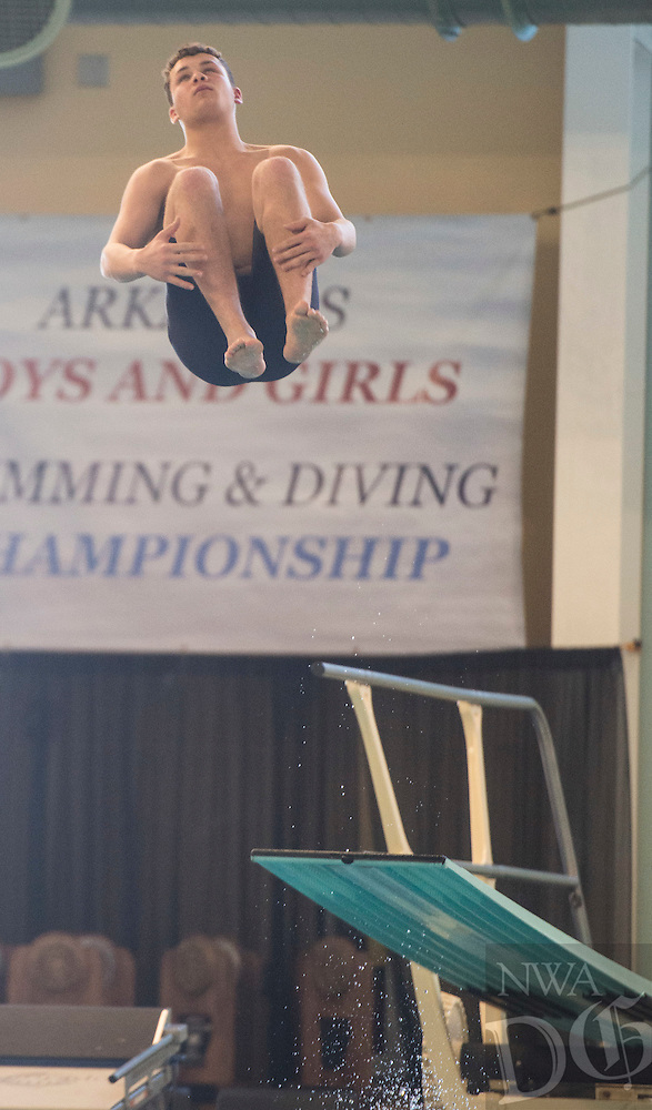 NWA Democrat-Gazette/ANTHONY REYES @NWATONYR<br /> Damein Martin of Siloam Springs during the Arkansas State Dive meet Friday, Feb. 24, 2017 at the Bentonville Community Center in Bentonville.