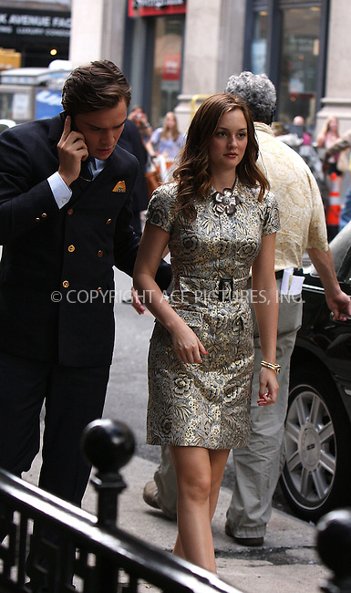 WWW.ACEPIXS.COM . . . . . ....June 29 2009, New York City....Actors Leighton Meester and Ed Westwick on the set of 'Gossip Girl' as filming begun for season three in Manhattan on June 29, 2009 in New York City....Please byline: AJ SOKALNER - ACEPIXS.COM.. . . . . . ..Ace Pictures, Inc:  ..tel: (212) 243 8787 or (646) 769 0430..e-mail: info@acepixs.com..web: http://www.acepixs.com