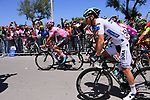 The leaders jerseys start Stage 4 of the 100th edition of the Giro d'Italia 2017, running 181km from Cefalu to Mount Etna, Sicily, Italy. 9th May 2017.<br /> Picture: LaPresse/Gian Mattia D'Alberto | Cyclefile<br /> <br /> <br /> All photos usage must carry mandatory copyright credit (&copy; Cyclefile | LaPresse/Gian Mattia D'Alberto)