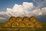 Hay rolls, building afternoon thunder storms, rural Stutsman County, North Dakota