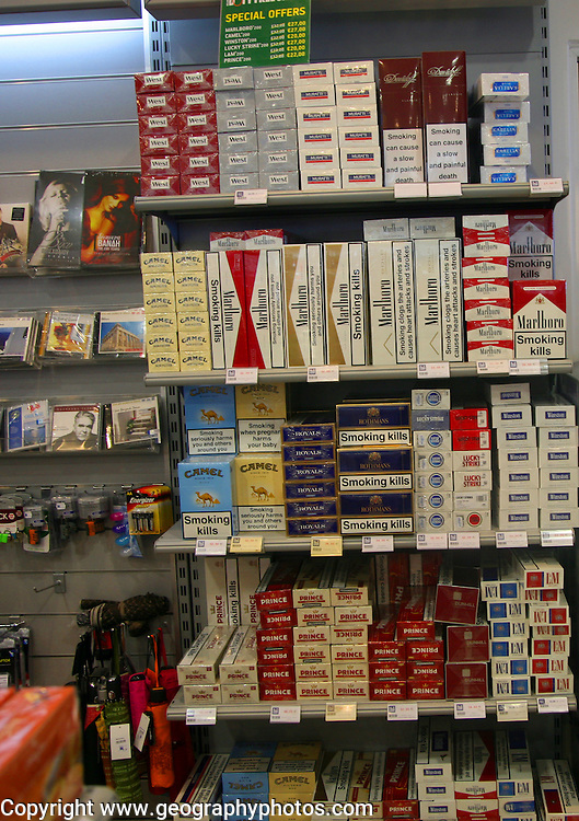 Tobacco cigaretes products at airport duty free shop, Rhodes, Greece