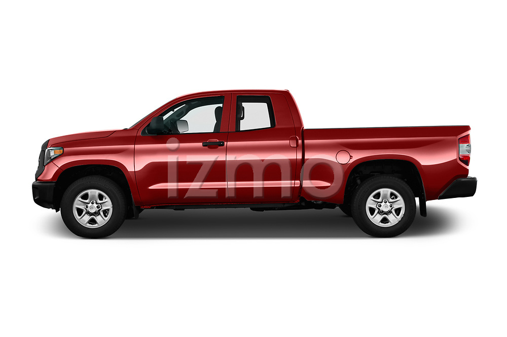 Car driver side profile view of a 2018 Toyota Tundra SR 4.6L Double Cab Standard Bed 4 Door Pick Up