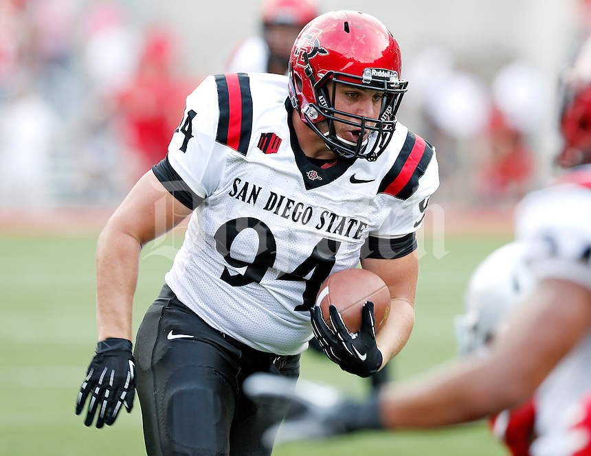 San Diego State Aztecs tight end Robert Craighead (94) makes a catch against Ohio State Buckeyes during the 2nd quarter of their college football game at Ohio Stadium in Columbus on September 7, 2013.  (Dispatch photo by Kyle Robertson)