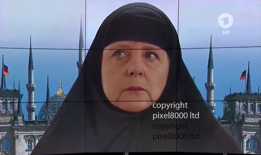 Pic shows: As dissatisfaction grows, ARD  news  Germany's main free-to-air broadcaster and equivalent to the BBC, <br /> uses mock up showing Angela Merkel in a hijab - muslim head covering as it reports the migrant crisis.<br /> <br /> <br /> <br /> <br /> Pic supplied by Pixel 8000 Ltd
