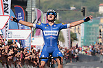 Remco Evenepoel (BEL) Deceuninck-Quick Step wins the 2019 Clasica Ciclista San Sebastian, his first World Tour victory, running 227.3km starting and finishing in Donostia-San Sebastián, Spain. 3rd August 2019.<br /> Picture: Colin Flockton | Cyclefile<br /> All photos usage must carry mandatory copyright credit (© Cyclefile | Colin Flockton)