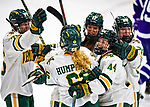 2 February 2020: The University of Vermont Catamounts celebrate their game-tying goal with 56 seconds to play in the 3rd period against the Holy Cross Crusaders at Gutterson Fieldhouse in Burlington, Vermont. The Lady Cats rallied in the 3rd period to tie the Crusaders 2-2 in NCAA Women's Hockey East play. Mandatory Credit: Ed Wolfstein Photo *** RAW (NEF) Image File Available ***