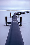The Trans-Alaska Pipeline leaving Prudhoe Bay, Alaska across the North Slope en route to Valdez and transshipment.