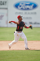 Batavia Muckdogs third baseman Rony Cabrera (26) throws to first base during a game against the West Virginia Black Bears on June 25, 2017 at Dwyer Stadium in Batavia, New York.  Batavia defeated West Virginia 4-1 in nine innings of a scheduled seven inning game.  (Mike Janes/Four Seam Images)