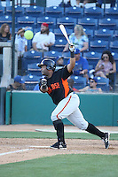 Angel Villalona (41) of the San Jose Giants bats during a game against the Rancho Cucamonga Quakes at LoanMart Field on August 30, 2015 in Rancho Cucamonga, California. Rancho Cucamonga defeated San Jose, 8-3. (Larry Goren/Four Seam Images)