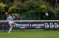 Toby Flood of Newcastle Falcons converts the Adam Radwan of Newcastle Falcons try during the Greene King IPA Championship match between London Scottish Football Club and Newcastle Falcons at Richmond Athletic Ground, Richmond, United Kingdom on 12 October 2019. Photo by Liam McAvoy.