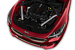 Car stock 2018 KIA Stinger GT 5 Door Hatchback engine high angle detail view