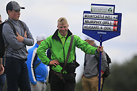 Cathal Butler carrying the score board for John Murphy's match on the 3rd during Round 3 of the WATC 2018 - Eisenhower Trophy at Carton House, Maynooth, Co. Kildare on Friday 7th September 2018.<br /> Picture:  Thos Caffrey / www.golffile.ie<br /> <br /> All photo usage must carry mandatory copyright credit (&copy; Golffile | Thos Caffrey)