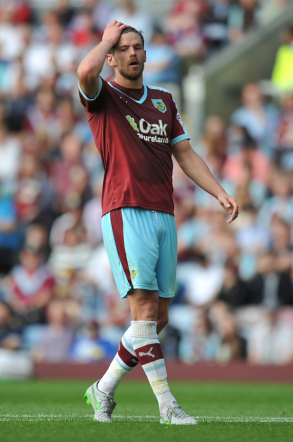 Burnley's Lukas Jutkiewicz<br /> <br /> Photographer Dave Howarth/CameraSport<br /> <br /> Football - The Football League Sky Bet Championship - Burnley v Brentford - Saturday 22nd August 2015 - Turf Moor - Burnley<br /> <br /> &copy; CameraSport - 43 Linden Ave. Countesthorpe. Leicester. England. LE8 5PG - Tel: +44 (0) 116 277 4147 - admin@camerasport.com - www.camerasport.com