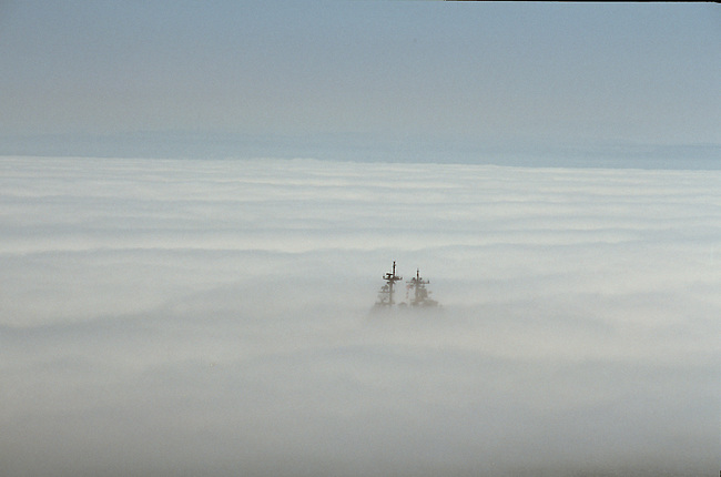 Navy ship disappears into fog