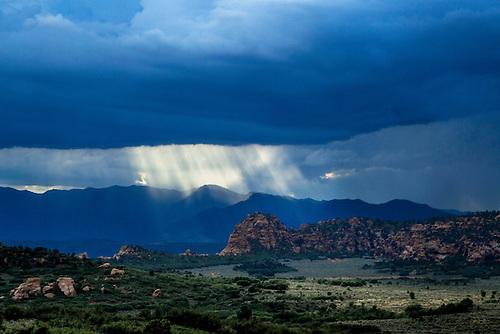 Dark skies threaten the landscape at Hop Valley at Zion National Park, Utah