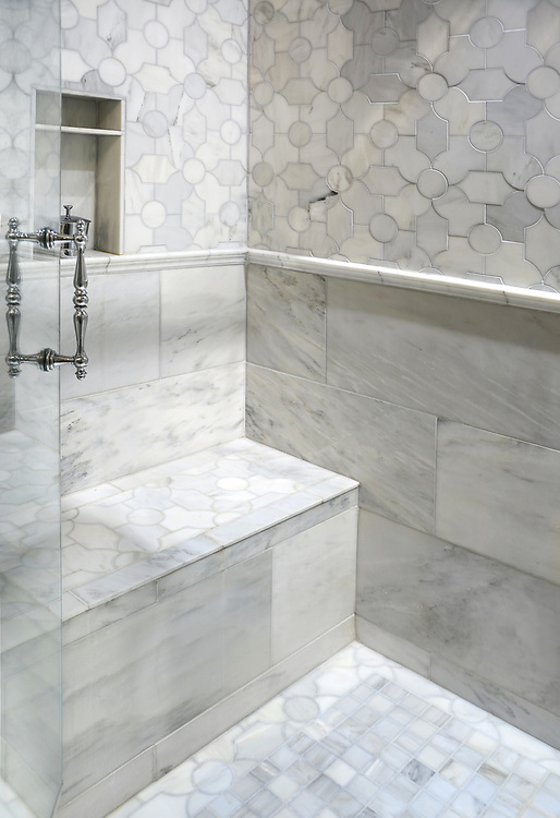 Chatham 2, a waterjet stone, shown in honed Calcatta Tia, is part of the Silk Road collection by New Ravenna.