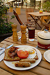 Breakfast at an outdoor cafe on New Regent Street, Christchurch, New Zealand