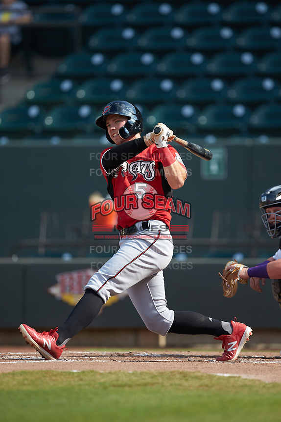 Tristen Lutz (5) of the Carolina Mudcats follows through on his swing against the Winston-Salem Dash at BB&T Ballpark on June 1, 2019 in Winston-Salem, North Carolina. The Mudcats defeated the Dash 6-3 in game one of a double header. (Brian Westerholt/Four Seam Images)