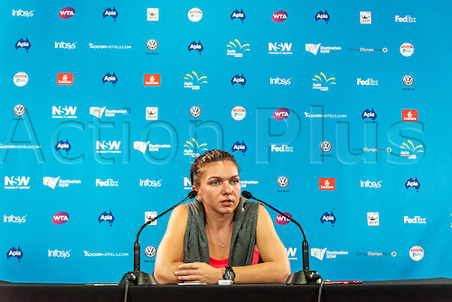 10.01.2016. Sydney, Australia. World No. 2 Simona Halep of Romania answers a question during a press conference at  the Apia International tournament at the Apia International Sydney, Australia.