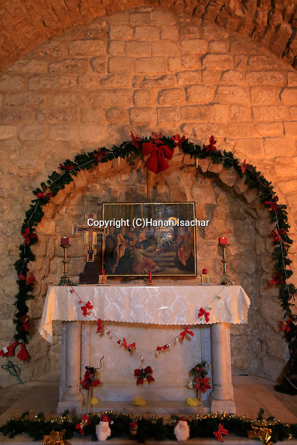 Israel, the Synagogue Church in Nazareth, decorated on Christmas