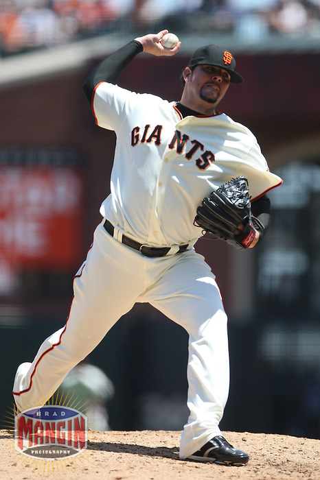 SAN FRANCISCO, CA - June 13:  Randy Messenger of the San Francisco Giants pitches during the game against the Toronto Blue Jays at AT&T Park in San Francisco, California on June 13, 2007.  Photo by Brad Mangin