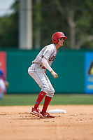 Clearwater Threshers shortstop Nick Maton (6) leads off second base during a Florida State League game against the Dunedin Blue Jays on April 7, 2019 at Jack Russell Memorial Stadium in Clearwater, Florida.  Dunedin defeated Clearwater 2-1.  (Mike Janes/Four Seam Images)