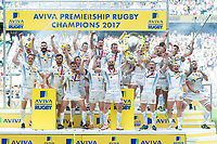 Exeter Chiefs celebrate victory as Jack Yeandle and Gareth Steenson of Exeter Chiefs lift the Aviva Premiership trophy. Aviva Premiership Final, between Wasps and Exeter Chiefs on May 27, 2017 at Twickenham Stadium in London, England. Photo by: Patrick Khachfe / JMP
