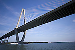 Arthur Ravenel Jr Bridge over Cooper River Charleston SC with Coast Guard Dolphin Helicopter