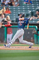 Wyatt Mathisen (21) of the Reno Aces bats against the Salt Lake Bees at Smith's Ballpark on June 27, 2019 in Salt Lake City, Utah. The Aces defeated the Bees 10-6. (Stephen Smith/Four Seam Images)