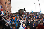 Thousands of Rangers fans protesting in Edmiston Drive outside Ibrox Stadium