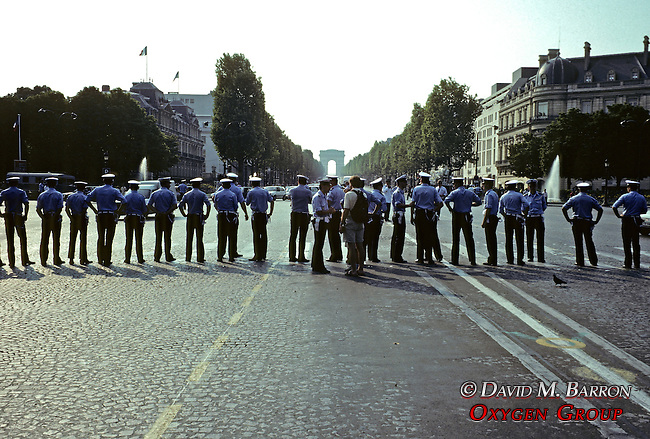 Police Lined Up For Tour De France In Paris