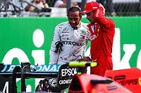 Lewis Hamilton, Mercedes, and Charles Leclerc, Scuderia Ferrari. <br /> <br /> Italian GP, Monza 5-8 September 2019<br /> Monza 07/09/2019 GP Italia <br /> Formula 1 Championship 2019 <br /> Photo Federico Basile / Insidefoto