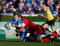 12th January 2020; RDS Arena, Dublin, Leinster, Ireland; Heineken Champions Cup Rugby, Leinster versus Lyon Olympique Universitaire; Luke McGrath of Leinster offloads the ball as he is tackled by Etienne Oosthuizen of Lyon - Editorial Use