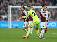 West Ham United's Joe Hart holds back an angry Mark Noble<br /> <br /> Photographer Rob Newell/CameraSport<br /> <br /> The Premier League - West Ham United v Burnley - Saturday 10th March 2018 - London Stadium - London<br /> <br /> World Copyright &not;&copy; 2018 CameraSport. All rights reserved. 43 Linden Ave. Countesthorpe. Leicester. England. LE8 5PG - Tel: +44 (0) 116 277 4147 - admin@camerasport.com - www.camerasport.com