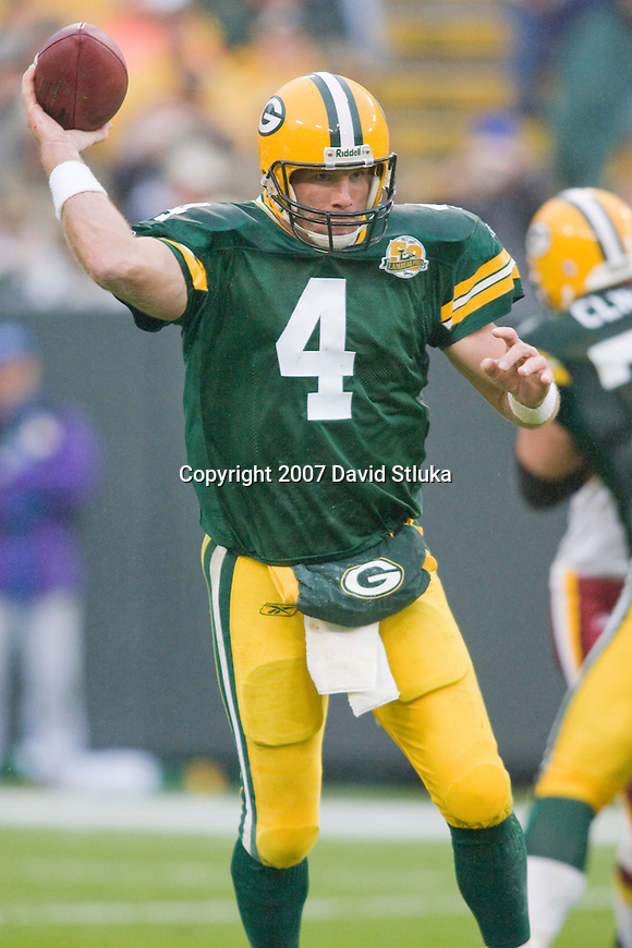 Quarterback Brett Favre #4 of the Green Bay Packers throws a pass during an NFL football game against the Washington Redskins at Lambeau Field on October 14, 2007 in Green Bay, Wisconsin. The Packers beat the Redskins 17-14. (Photo by David Stluka)