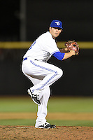 Dunedin Blue Jays pitcher Chad Girodo (18) delivers a pitch during a game against the Daytona Cubs on April 16, 2014 at Florida Auto Exchange Stadium in Dunedin, Florida.  Dunedin defeated Daytona 5-1.  (Mike Janes/Four Seam Images)
