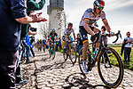 Peloton with Marcus Burghardt (GER) and World Champion Peter SAGAN from Slovakia of BORA - Hansgrohe at the 4 star cobblestone sector 17 from Hornaing to Wandignies during the 2018 Paris-Roubaix race, France, 8 April 2018, Photo by Pim Nijland / PelotonPhotos.com | All photos usage must carry mandatory copyright credit (Peloton Photos | Pim Nijland)