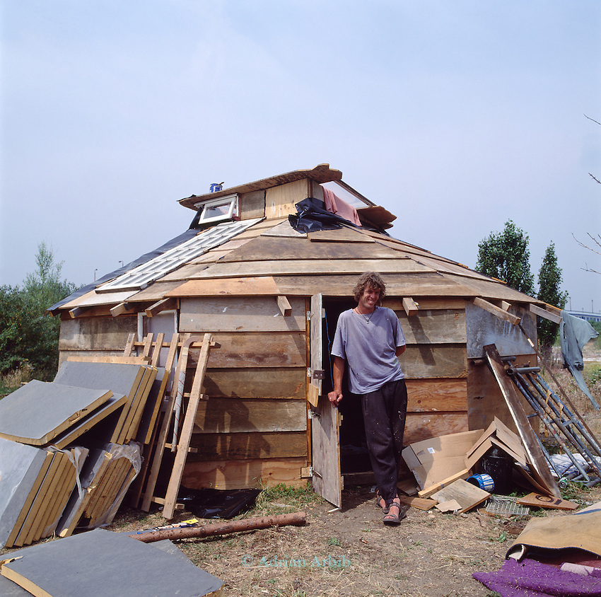 Darren and his homemade house on the site of the Wandsworth Eco village.