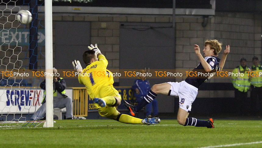 Chris Taylor scores the 2nd goal for Millwall - Millwall vs Birmingham City, nPower Championship at the New Den, Millwall - 23/10/12 - MANDATORY CREDIT: Rob Newell/TGSPHOTO - Self billing applies where appropriate - 0845 094 6026 - contact@tgsphoto.co.uk - NO UNPAID USE.