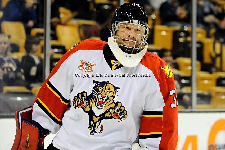 March 4, 2014 - Boston, Massachusetts, U.S. - Florida Panthers goalie Tim Thomas (34) warms up before the NHL game between the Florida Panthers and the Boston Bruins held at TD Garden in Boston Massachusetts.   The Bruins defeated the Panthers 4-1 in regulation time  Eric Canha/CSM