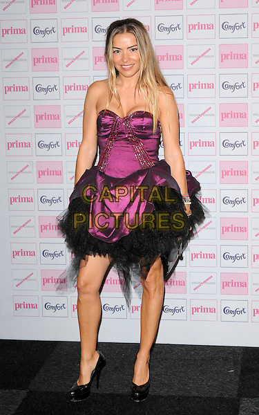 ELEN RIVAS .Comfort Prima High Street Fashion Awards 2010 at Battersea Evolution, London, England, UK,.September 9th 2010.full length strapless pink purple black tulle dress prom shoe patent .CAP/CAN.©Can Nguyen/Capital Pictures.