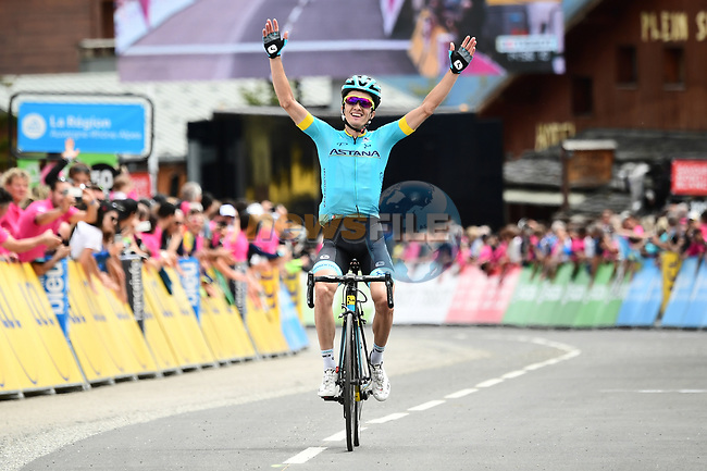 Pello Bilbao Lopez De Armentia (ESP) Astana Pro Team wins solo Stage 6 of the 2018 Criterium du Dauphine 2018 running 110km from Frontenex to La Rosiere, France. 9th June 2018.<br /> Picture: ASO/Alex Broadway | Cyclefile<br /> <br /> <br /> All photos usage must carry mandatory copyright credit (© Cyclefile | ASO/Alex Broadway)