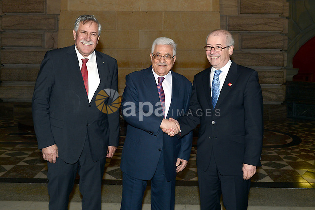 Palestinian President Mahmud Abbas meets President of the Swiss Parliament upon his arrival for an official visit to Switzerland on November 15, 2012 in Bern. Abbas is scheduled to present its bid for non-state UN membership before the UN General Assembly on November 29. Photo by Thaer Ganaim