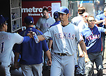 Yu Darvish (Rangers),<br /> MAY 4, 2014 - MLB :<br /> Yu Darvish of the Texas Rangers high-fives his teammate in the dugout during the Major League Baseball game against the Los Angeles Angels at Angel Stadium in Anaheim, California, United States. (Photo by AFLO)