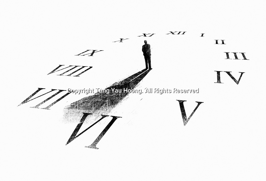 Man's shadow forming clock hands on clock face