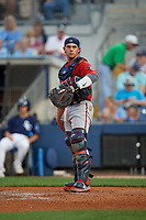 Fort Myers Miracle catcher Ben Rortvedt (15) during a Florida State League game against the Charlotte Stone Crabs on April 6, 2019 at Charlotte Sports Park in Port Charlotte, Florida.  Fort Myers defeated Charlotte 7-4.  (Mike Janes/Four Seam Images)