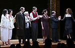 Adina Verson, Katrina Lenk, Richard Topal, Paula Vogel, Max Gordon Moore, Mimi Lieber, Steven Rattazzi and Rebecca Taichman during the Broadway Opening Night Performance Curtain Call Bows for  'Indecent' at The Cort Theatre on April 18, 2017 in New York City.