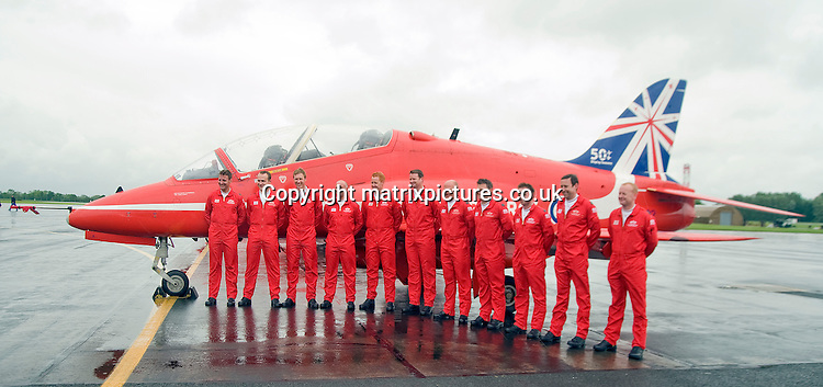 NON EXCLUSIVE PICTURE: MATRIXPICTURES.CO.UK<br /> PLEASE CREDIT ALL USES<br /> <br /> WORLD RIGHTS<br /> <br /> Pictured are the Red Arrows line up at the press day for the Royal International Air Tattoo held at RAF Fairford.<br /> <br /> JUNE 4th 2014<br /> <br /> REF: RWN 142662